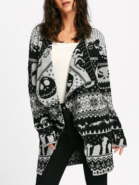 Halloween Skull Knitting Tunic Cardigan - LIGHT GRAY 2XL