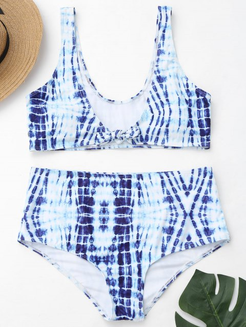 Tie-Dyed Plus Size High Waisted Swimwear - BLUE/WHITE 3XL
