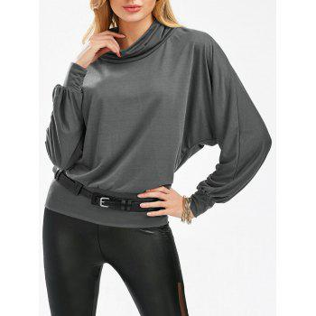 Stylish Cowl Necked Buttocks Tight Long Blouse - GRAY ONE SIZE