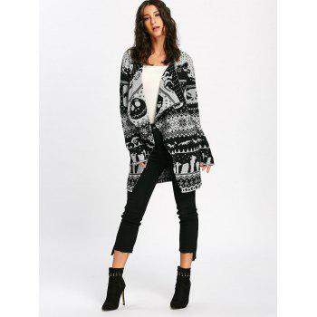 Halloween Skull Knitting Tunic Cardigan - WHITE/BLACK 2XL