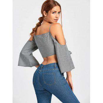 Bowknot Plaid Open Shoulder Crop Top - BLACK L