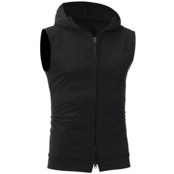Kangaroo Pocket Zipper Up Hooded Vest - BLACK M