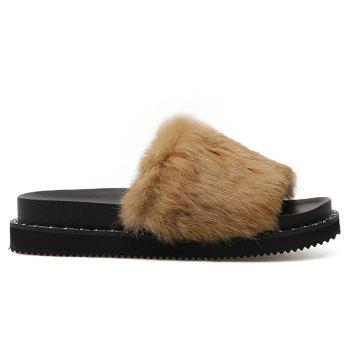 PU Leather Faux Fur Slide Sandals - BROWN BROWN