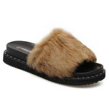 PU Leather Faux Fur Slide Sandals - 38 38