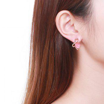 Faux Gemstone Bows Teardrop Stud Earrings -  PINK