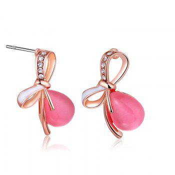 Faux Gemstone Bows Teardrop Stud Earrings - PINK PINK
