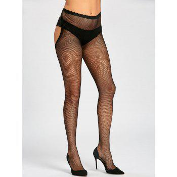 Fishnet Sheer Cut Out Tights - BLACK BLACK