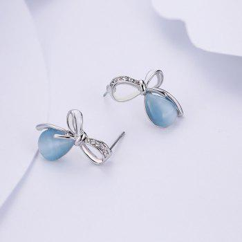 Faux Gemstone Bows Teardrop Stud Earrings - BLUE
