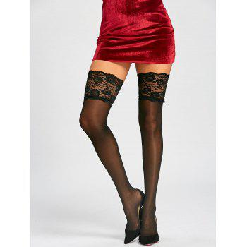Lace Trim Overknee Sheer Stockings