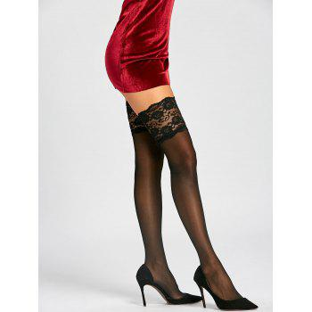 Lace Trim Overknee Sheer Stockings - BLACK ONE SIZE