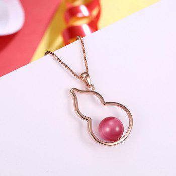 Calabash Bead Charm Collarbone Necklace - ROSE GOLD
