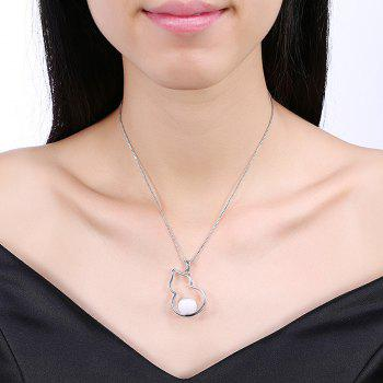 Calabash Bead Charm Collarbone Necklace -  SILVER