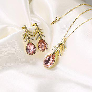 Faux Crystal Teardrop Earring and Necklace Set -  GOLDEN