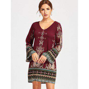 Bohemian Bell Sleeve Graphic Mini Dress - S S