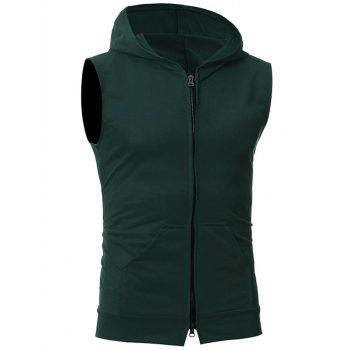 Kangaroo Pocket Zipper Up Hooded Vest - DEEP GREEN DEEP GREEN