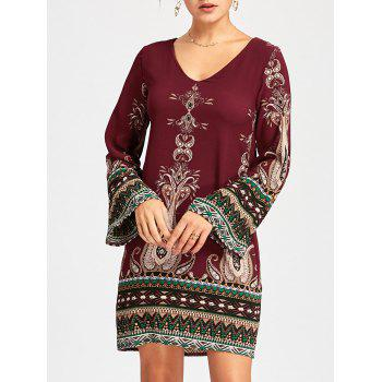 Bohemian Bell Sleeve Graphic Mini Dress - WINE RED S