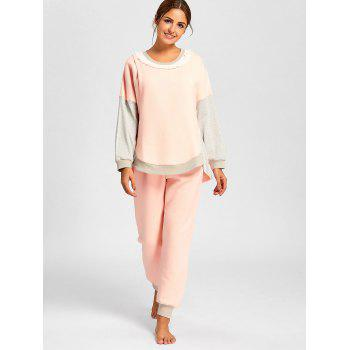 Cotton Nursing PJ Set with Sleeves - ORANGEPINK M