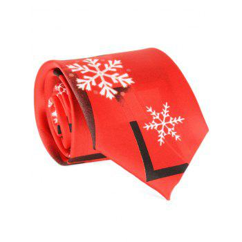 Snowflakes and Geometric Printed Tie - RED RED
