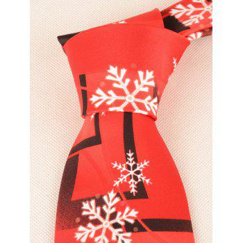 Snowflakes and Geometric Printed Tie -  RED