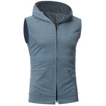 Kangaroo Pocket Zipper Up Hooded Vest - LIGHT GRAY LIGHT GRAY