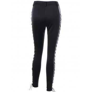 High Waist Skinny Lace Up Pants - BLACK L