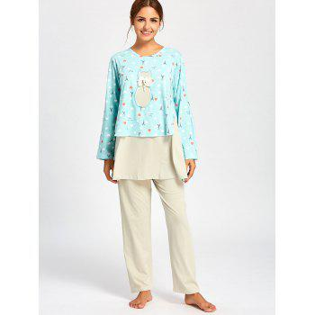 Long Sleeve Nursing PJ Set with Pattern - CLOUDY L