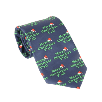 Merry Christmas Y'all Printed Allover Tie -  BLUE