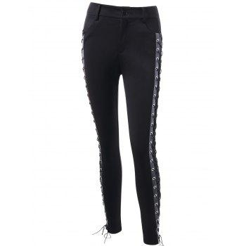 High Waist Skinny Lace Up Pants - BLACK XL