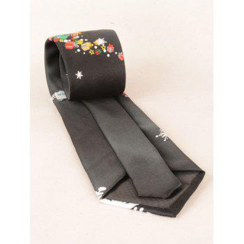 Santa Claus Ride a Motorbike with Gifts Print Tie -  BLACK