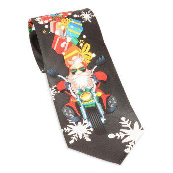 Santa Claus Ride a Motorbike with Gifts Print Tie - BLACK BLACK