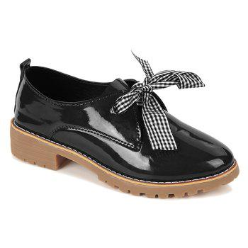Bowknot PU Leather Flat Shoes - BLACK 36