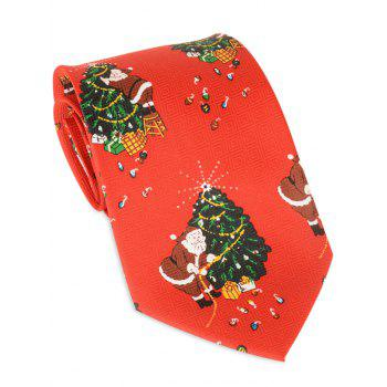 Santa Claus Christmas Tree Printed Allover Tie - RED RED