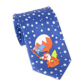 Santa Claus Flying by Balloon Printed Tie - BLUE BLUE
