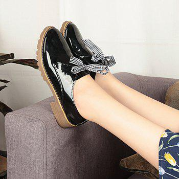Bowknot PU Leather Flat Shoes - BLACK 38