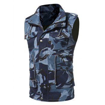 Zip Up Camouflage Fatigue Waistcoat - BLUE M