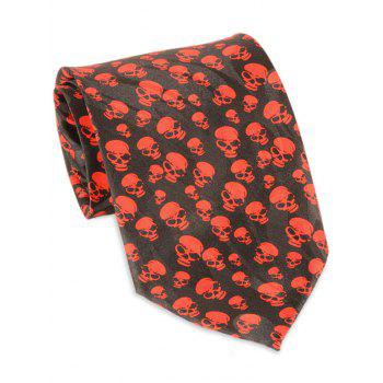 Halloween Small Skull Pattern Width Neck Tie - RED RED