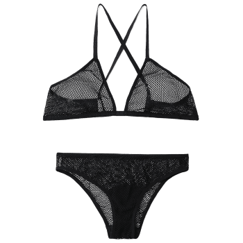 Criss Cross Fishnet Bra Set - BLACK S