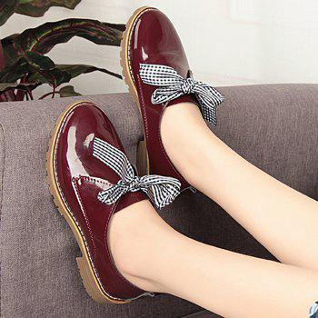 Bowknot PU Leather Flat Shoes - WINE RED 37