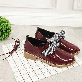 Bowknot PU Leather Flat Shoes - WINE RED 38