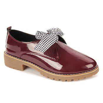Bowknot PU Leather Flat Shoes - WINE RED 36
