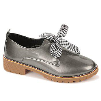 Bowknot PU Leather Flat Shoes - TAUPE 37