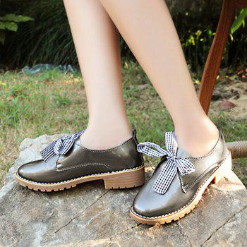 Bowknot PU Leather Flat Shoes - 38 38