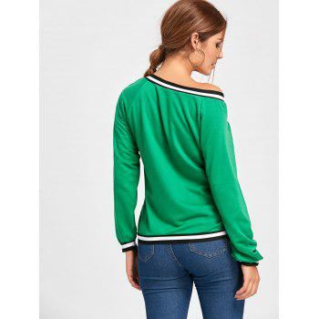 Contrast V Neck Long Sleeve Top - GREEN GREEN
