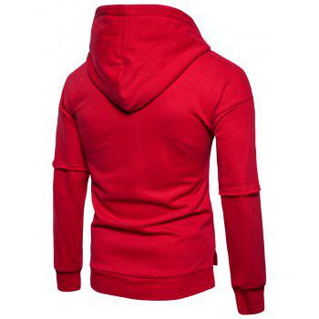 Side Slit Fleece Drop Shoulder Pullover Hoodie - RED XL