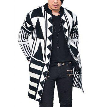 Tribal Geometric Pattern Open Cardigan - WHITE AND BLACK L