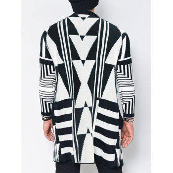 Tribal Geometric Pattern Open Cardigan - WHITE/BLACK L