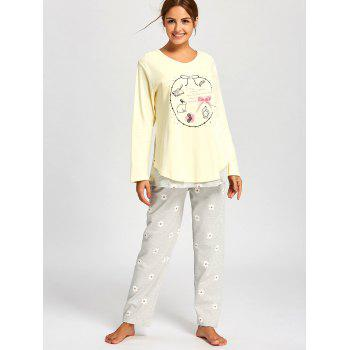 Nursing Cotton T-shirt with Floral PJ Pants - LIGHT YELLOW M