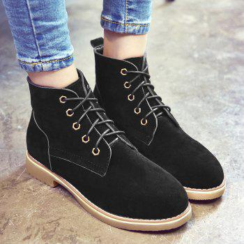 Ankle Faux Suede Lace Up Boots - BLACK BLACK