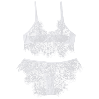 Eyelash Lace Bralette Set - WHITE L