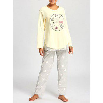 Nursing Cotton T-shirt with Floral PJ Pants - LIGHT YELLOW XL